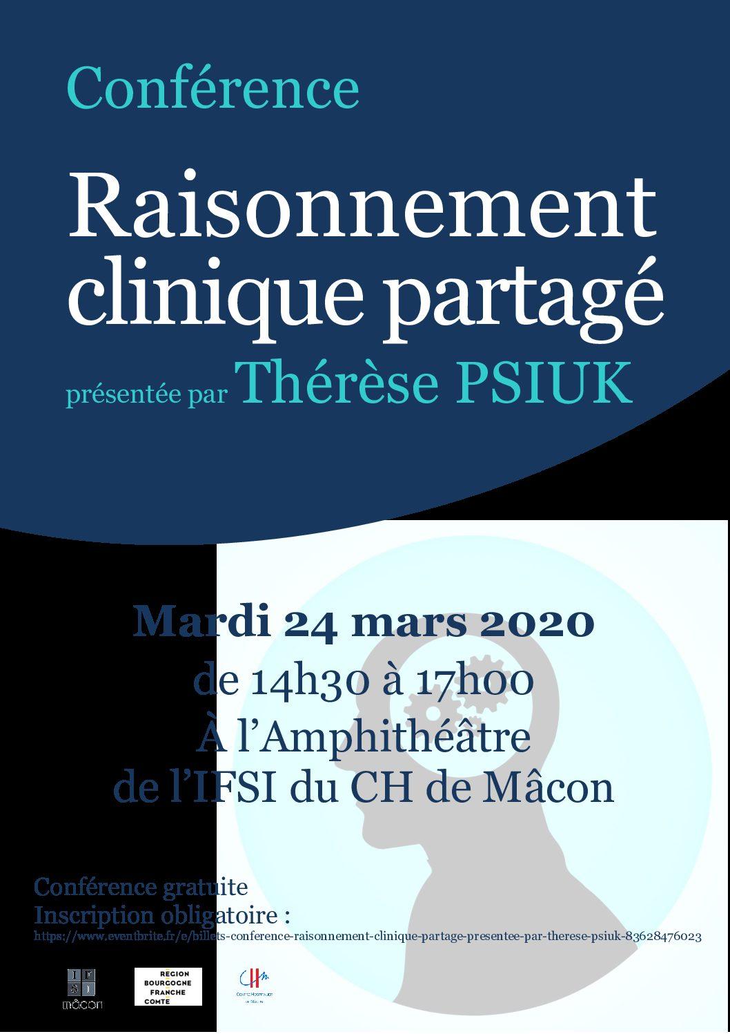 24 MARS 2020 : CONFÉRENCE SUR LE RAISONNEMENT CLINIQUE PARTAGE Par Thérèse PSIUK
